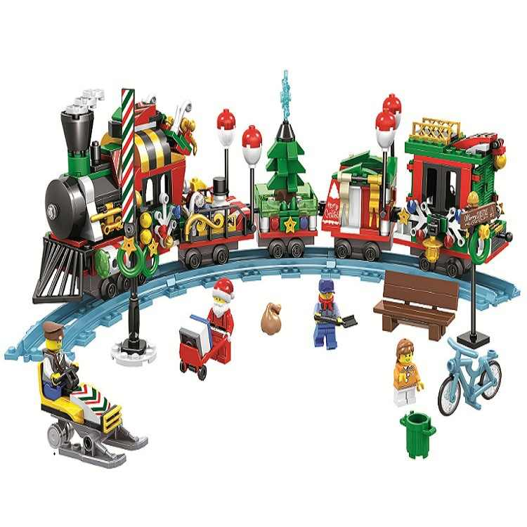 New Christmas Creator Winter Village Santa Reindeer Train/Truck compatible brick Building blocks set toys for children