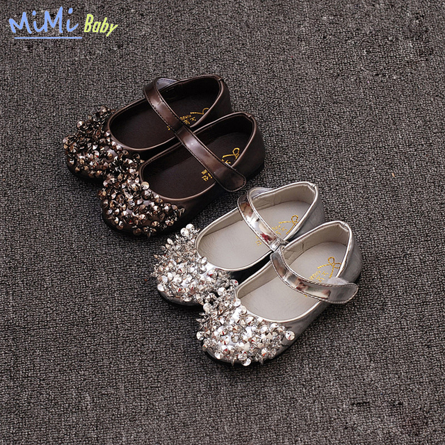 Baby girls shoes princesa shoes 2017 niños del resorte nuevos pulido lentejuelas patente lerther baby dance shoes bling adorno