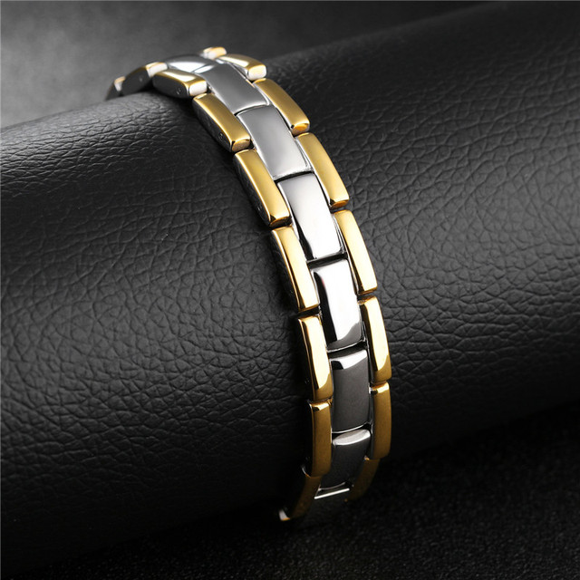 Bijoux Mens Magnetic Bracelet Stainless Steel Chain H Bracelets Bangles Stone Cuff For Women Men