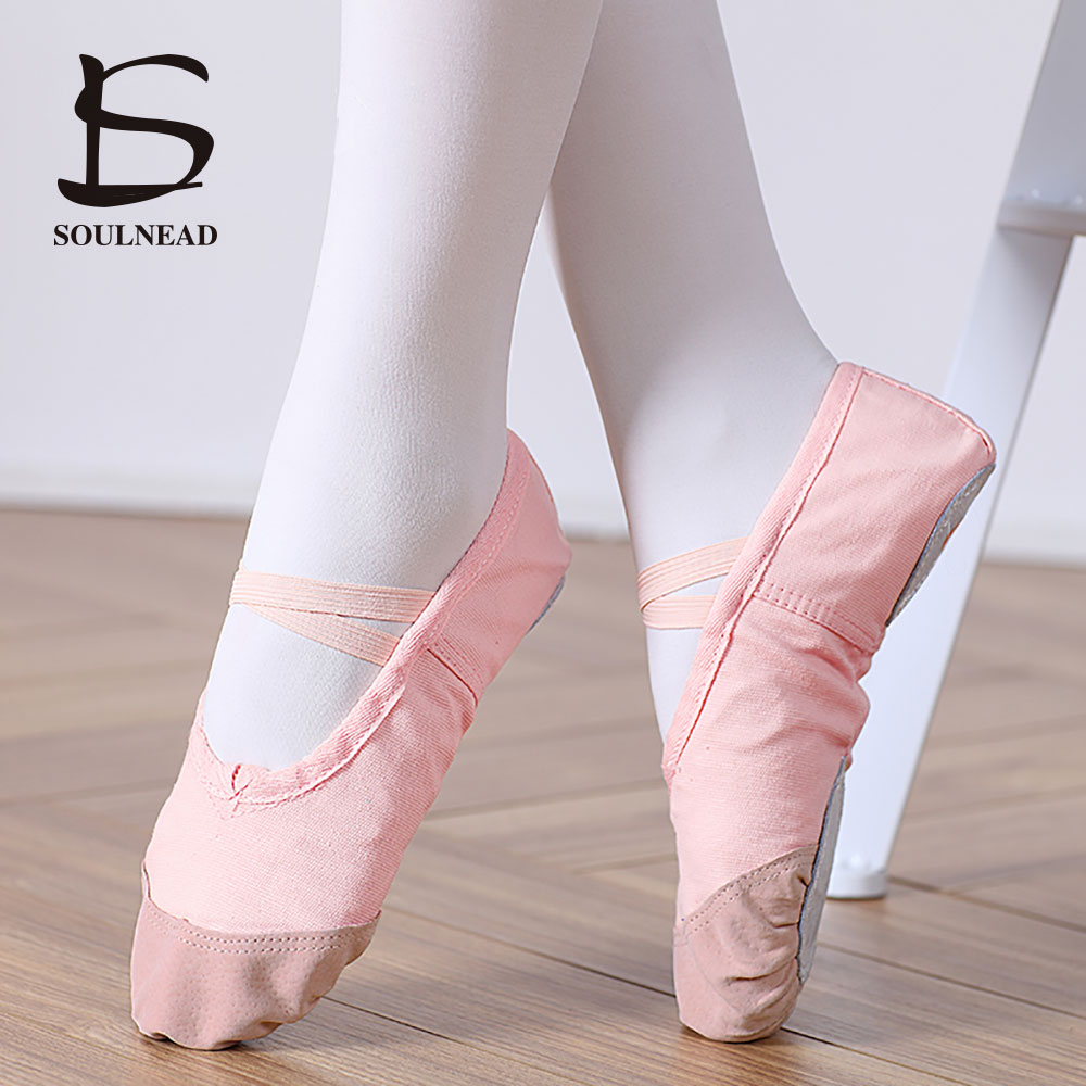 Hot Ballet Shoes Pointe For Girls Women Leather Head Ladies Salsa Dance Shoes Ballet Shoes For Women Flats Red Black 24-45 Size colorful ballet pointe shoes silky satin material beautiful colors professional ballet dance pointe shoes