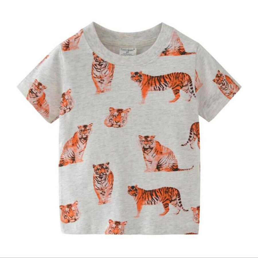 (2T-7T) 6pcs / 1lot Tiger Print T-shirt Fashion Girls & Boys Short Sleeve Children Shirt Cotton Tops Cartoon Clothe Kid T-Shir
