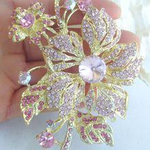 Элегантная брошь в форме цветка булавки w Розовый кристалл горного хрусталя EE06367C2
