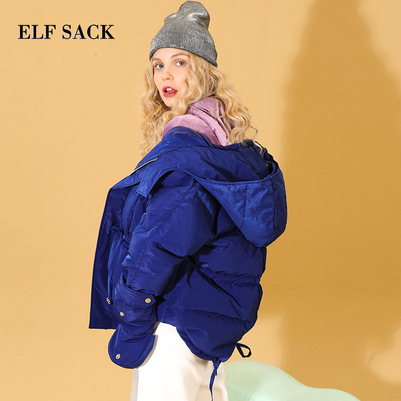 ELF SACK New Woman Down Coat 90% White Duck Down Korean Ins Style Solid Femme Thick Coat Zipper Winter Wearing Jackets Coats-in Down Coats from Women's Clothing    1