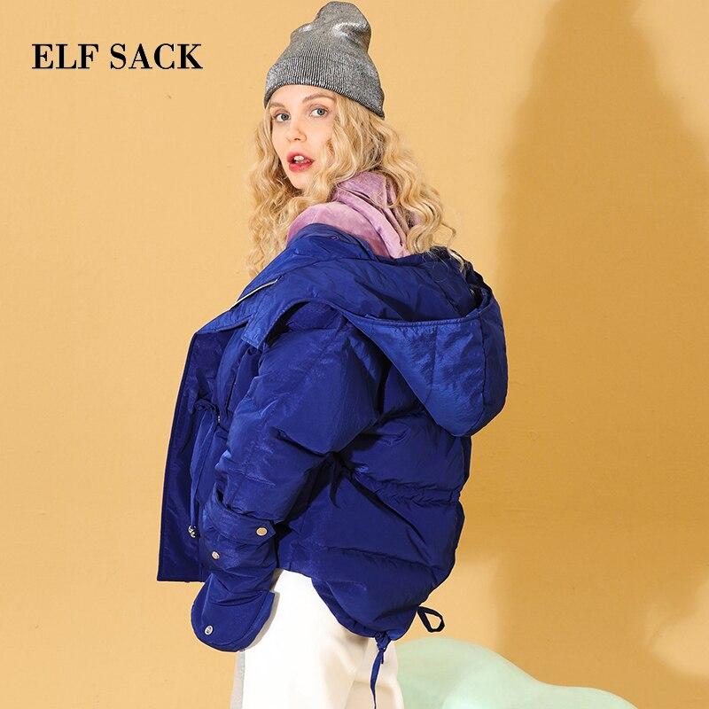 Elf sack 새 여자 다운 코트 90% 화이트 오리 한국 스타일 스타일 솔리드 femme 두꺼운 코트 지퍼 겨울 착용 재킷 코트-에서다운 코트부터 여성 의류 의  그룹 1