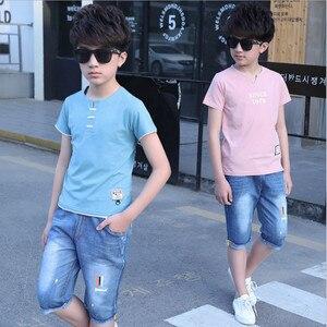 Image 4 - 5 14 שנים בני בגדי ספורט חליפת סט 2018 קיץ אופנה מזדמן קצר שרוול בגדי ילדים חולצה + ג ינס סט