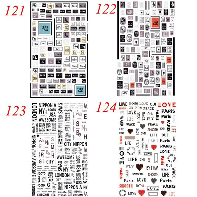 1 Sheet Fashion Women 12.5 x 7.8cm Nail Tips Letter Words Stamp Full Cover Nail Art Waterproof Sticker Decals for Nails Nail Art Accessories