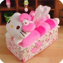 Kawaii hello kitty розовый автомобиль комната диван ткани коробка для хранения Контейнер ткань коробка для салфеток сиденье держатель бумажный мешок крышка