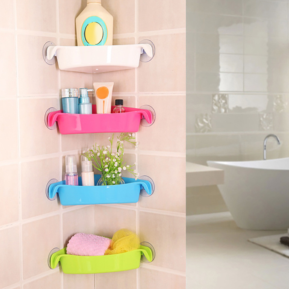 Plastic Suction Cup Bathroom Kitchen Corner Storage Rack Holder Shampoo Soap Organizer Shower Shelf image