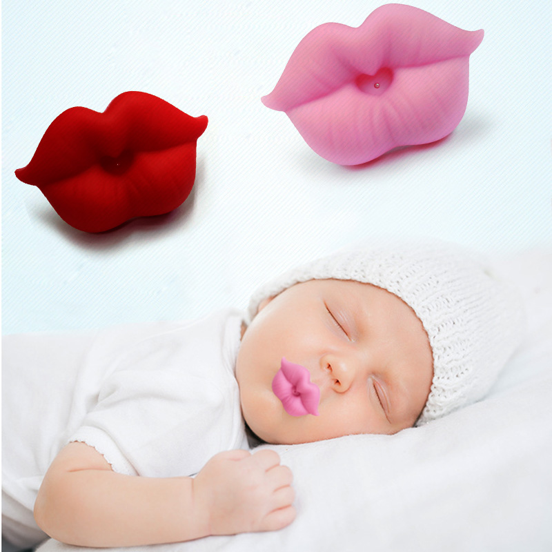 Funny Silicone Baby Pacifier Red Kiss Lips Dummy Pacifier Clips Accessories Teethers Toy Teat Infant Soother Nipples Baby Care