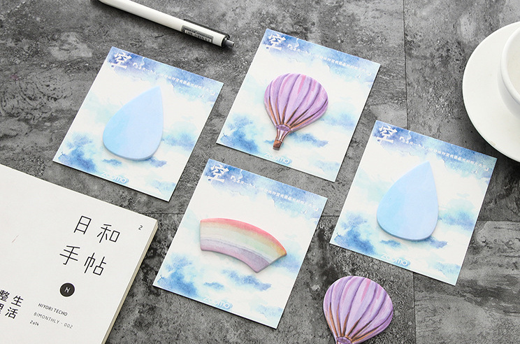 Fire balloon cloud rainbow Self-Adhesive Memo Pad Sticky Notes Post It Bookmark School Office Supply papelaria