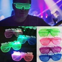Светодиодный светящиеся очки новогодние очки жалюзи светящиеся очки многоцветные пластиковые рождественские мигающие очки новогодние
