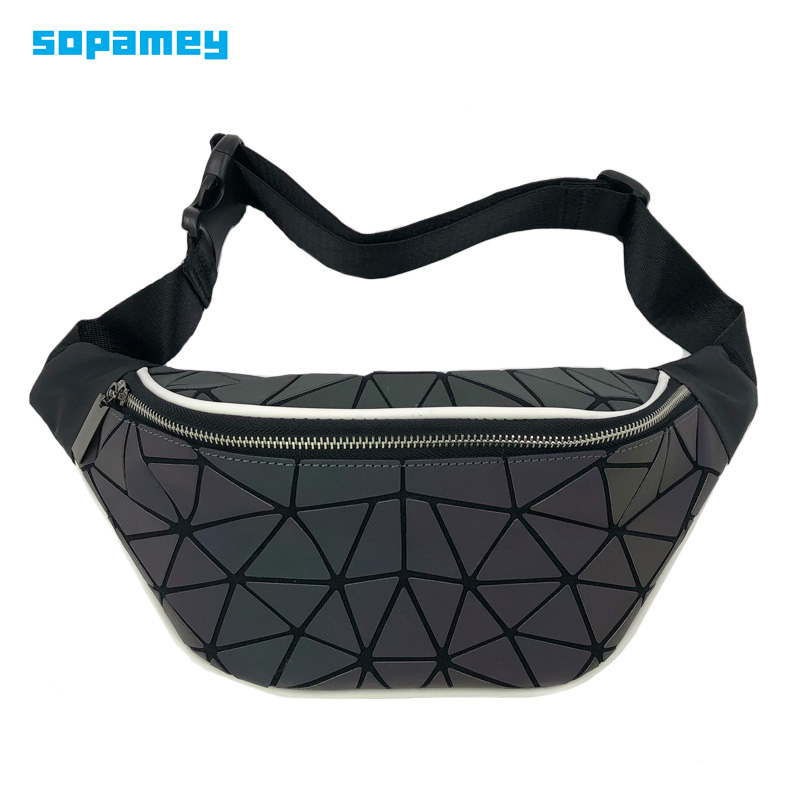 2019 Fashion Luminous Waist Bags Women Waist Fanny Packs Belt Bag Luxury Brand Geometric Chest Handbag Pouch Geometry Waist Pack
