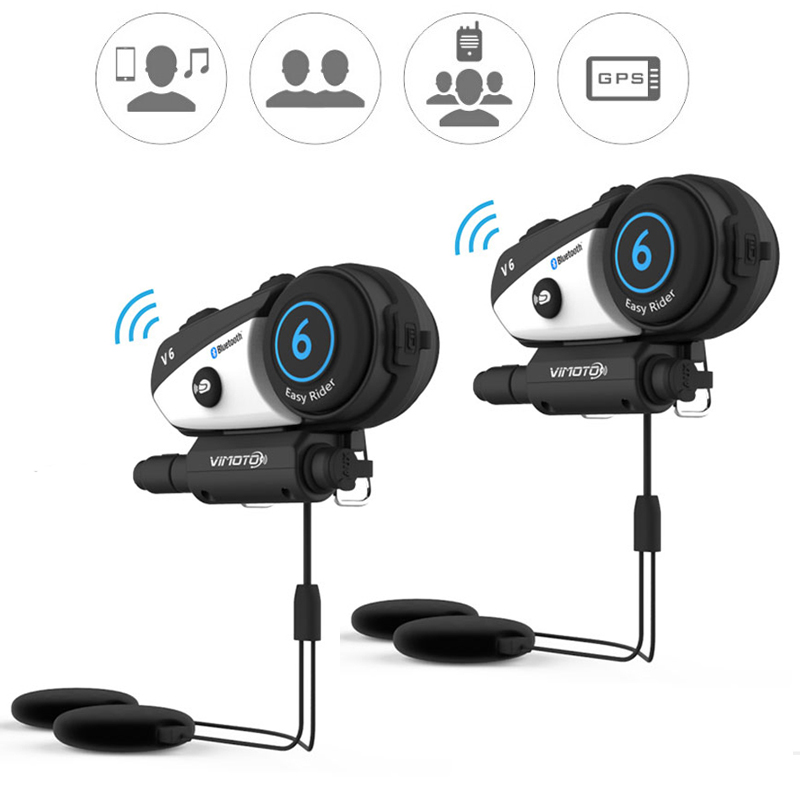 English Version 2pcs/lot  Vimoto V6 Motorcycle Helmet Headset Bluetooth Stereo Headphone Multipoint Connection BT Interphone(China)