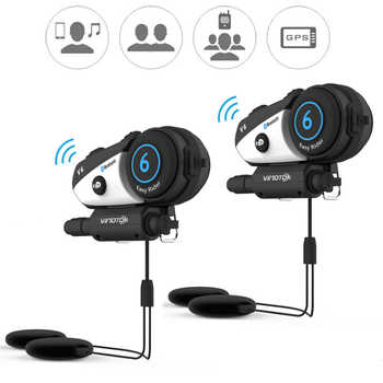 English Version 2pcs/lot  Vimoto V6 Motorcycle Helmet Headset Bluetooth Stereo Headphone Multipoint Connection BT Interphone - DISCOUNT ITEM  35% OFF All Category