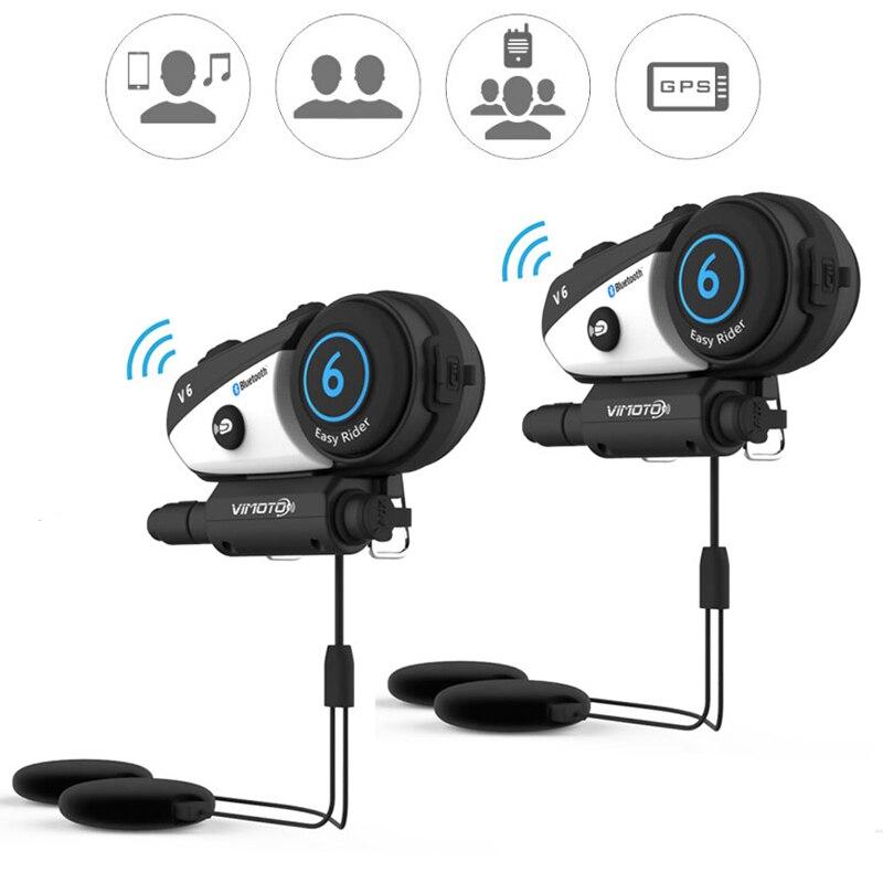 Versão inglês 2 pçs/lote V6 Vimoto Capacete Da Motocicleta fone de Ouvido fone de Ouvido Estéreo Bluetooth BT Interfone Conexão Multiponto