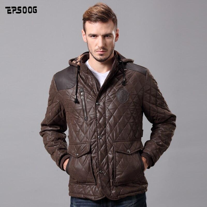 Mens ceket parkas kış 2016 yeni moda coat nen kahverengi