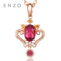 ENZO Sisi Collections Gemstone Jewelry Necklace Natural Tourmaline princess crown pendant 18K Rose gold women's necklace