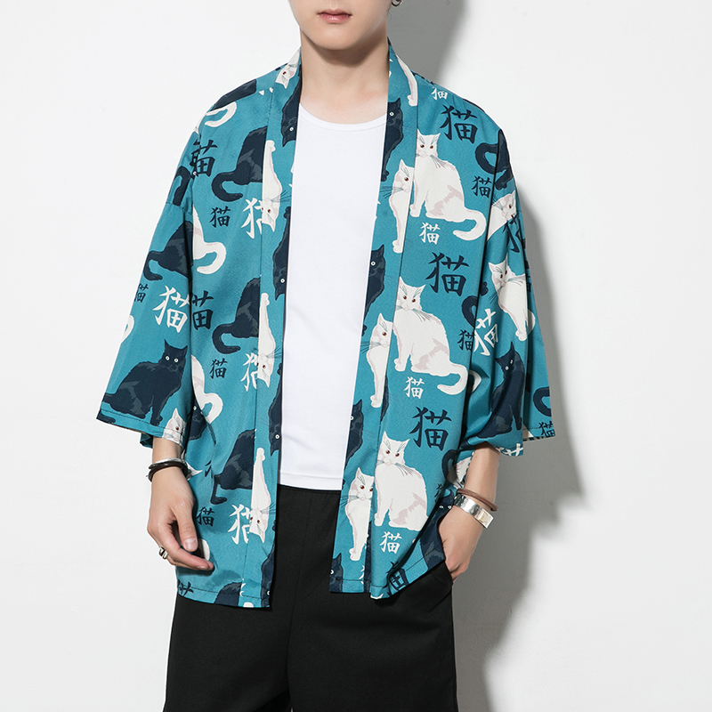 5XL Men Fashion Summer Japanese Cat Printed Cartoon Kimono Cardigan Thin Section Surplices Sunscreen Clothes Jackets Tops Coats