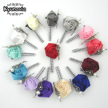 Kyunovia Custom Made Flower Lapel Pin Mens Wedding Boutonniere Handmade Brooch Buttonhole Grooms Boutonnieres Z05 - sale item Wedding Accessories
