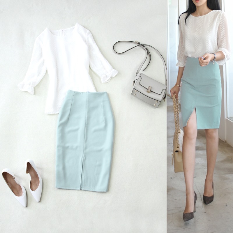 Femmes deux pièces tenues femme été nouveau mousseline de soie à sept points manches petite chemise bleu clair split fourche hanche crayon jupe deux pièces