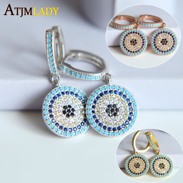 2017 New Summer 925 Authentic Sterling Silver Turkish Evil Eye Earrings With Cubic Zirconia Good Luck