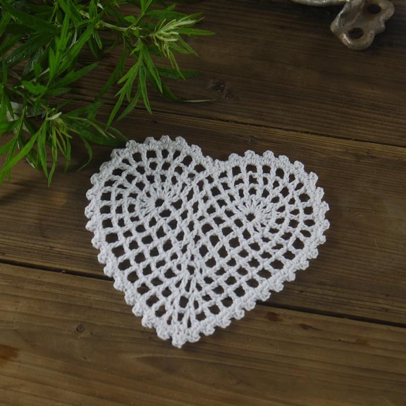 Handgefertigte Gehäkelte Deckchen Matte pad Weiß Vintage Herz ...