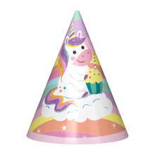 6pcs Unicorn Birthday Caps with strings Kids girls party hats Cheering supplies decoration favors