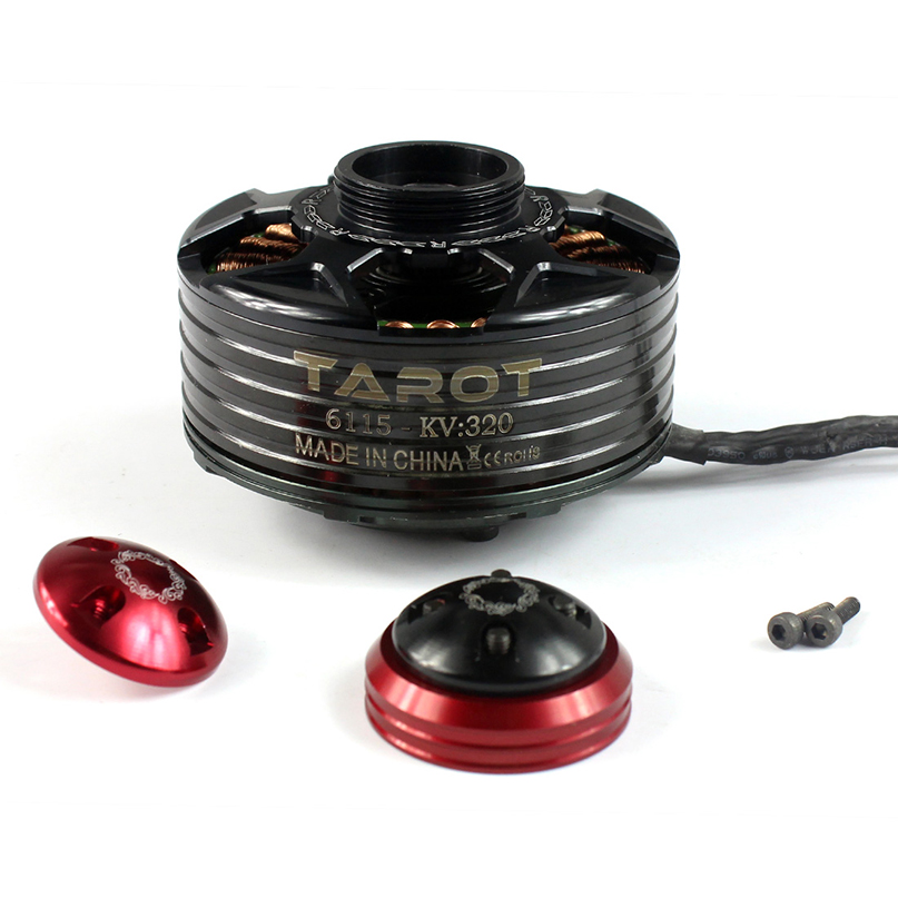 TAROT 6115 320KV Self-locking CW CCW thread Brushless Motor BLACK Red cover TL4X003 TL4X005 tarot mt2204 1550kv self lock brushless ccw motor for diy 280 300 multicopter