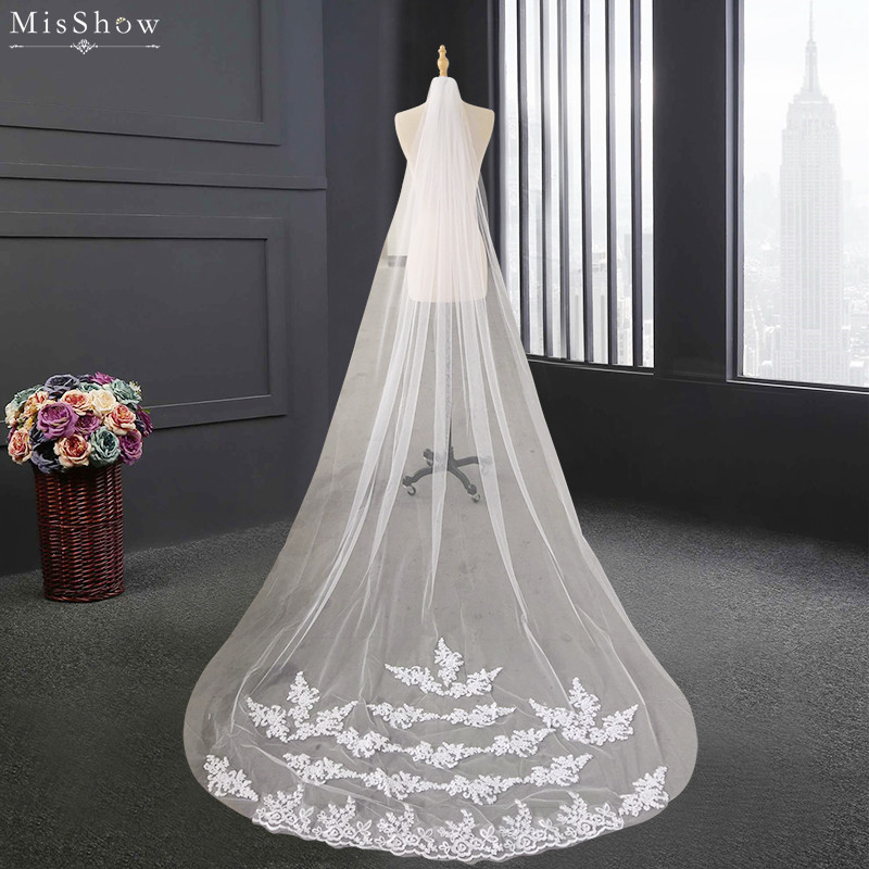 Wedding Accessories 2017 Appliques Tulle Long Cathedral Wedding Veil Lace Edge Bridal Veil with Comb veu de noiva longo