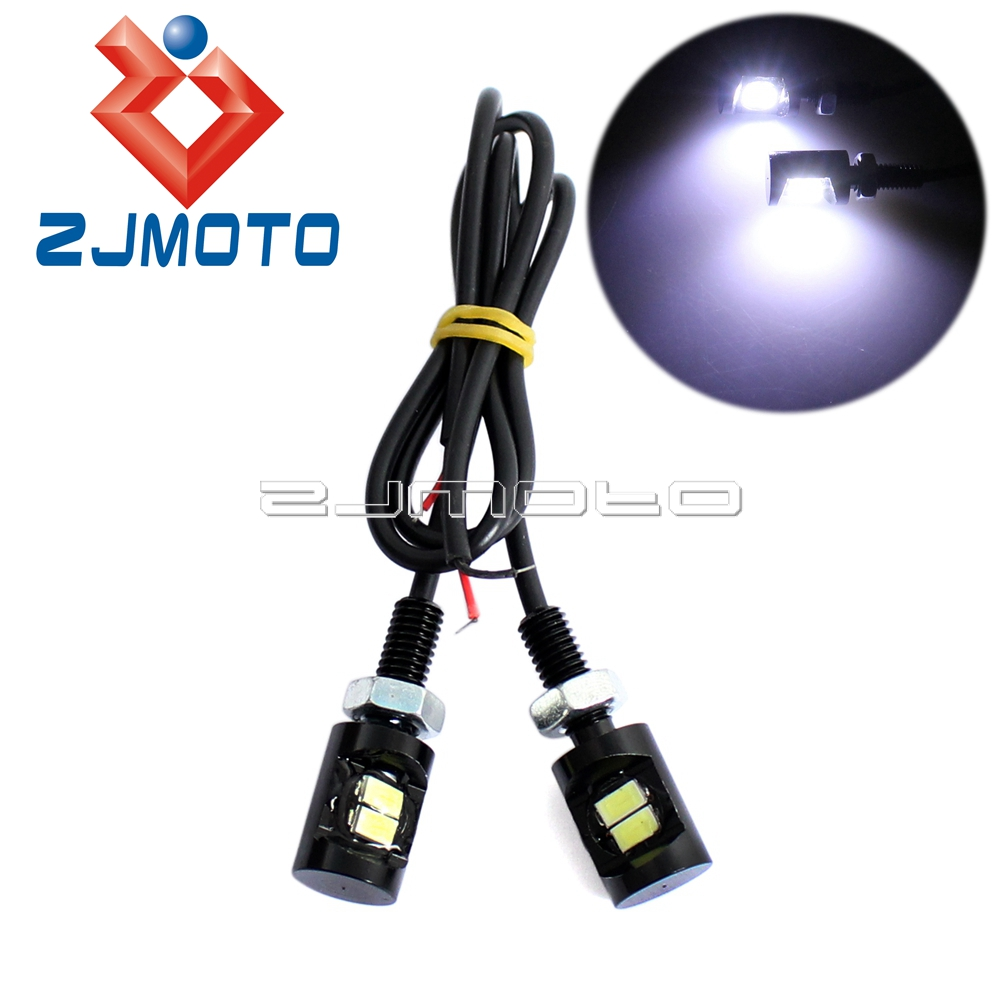 ZJMOTO 2x Motorcycle LED Number Plate Light Car Trunk License Number Plate Light