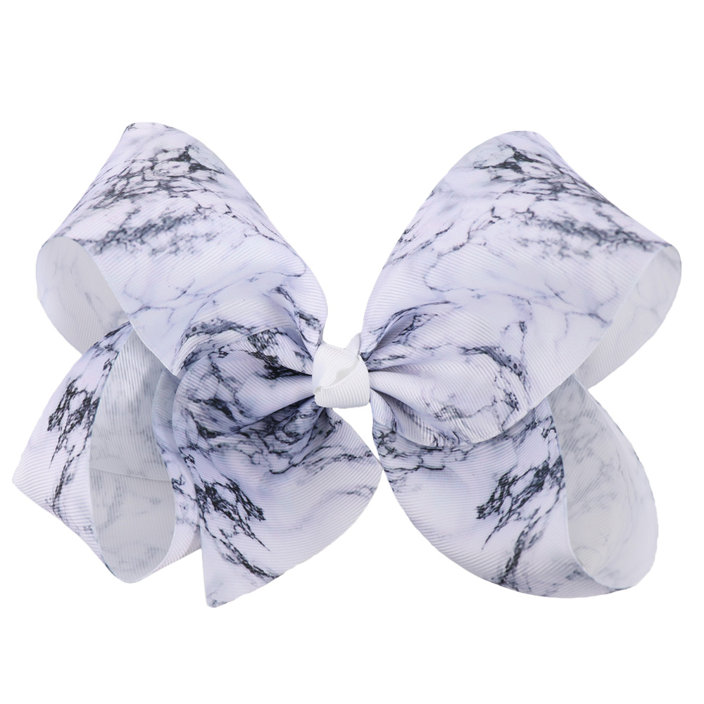 Fashion 7 Large Marble Ribbon Hair Bow With Clip For Kids Girls Handmade Boutique Big Bowknot Bows Hairgrips Hair Accessories