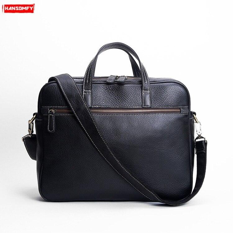 7e8570e4e6ea Оригинальные мужские натуральная кожа портфель повседневные деловые сумки  полноценно Диагональ мужской 14-дюймовый компьютер сумка