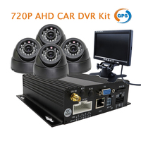 Free Shipping 4CH 720P HD AHD GPS SD Car Vehicle DVR Video Recorder Real Time Recording