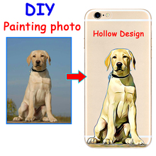 Custom DIY image Hand Drawn Dog Hollow hard phone case cover for Samsung s8 s9plus S7e S6 for iPhone 7 6s 8plus 5s X XS XR XSMAX