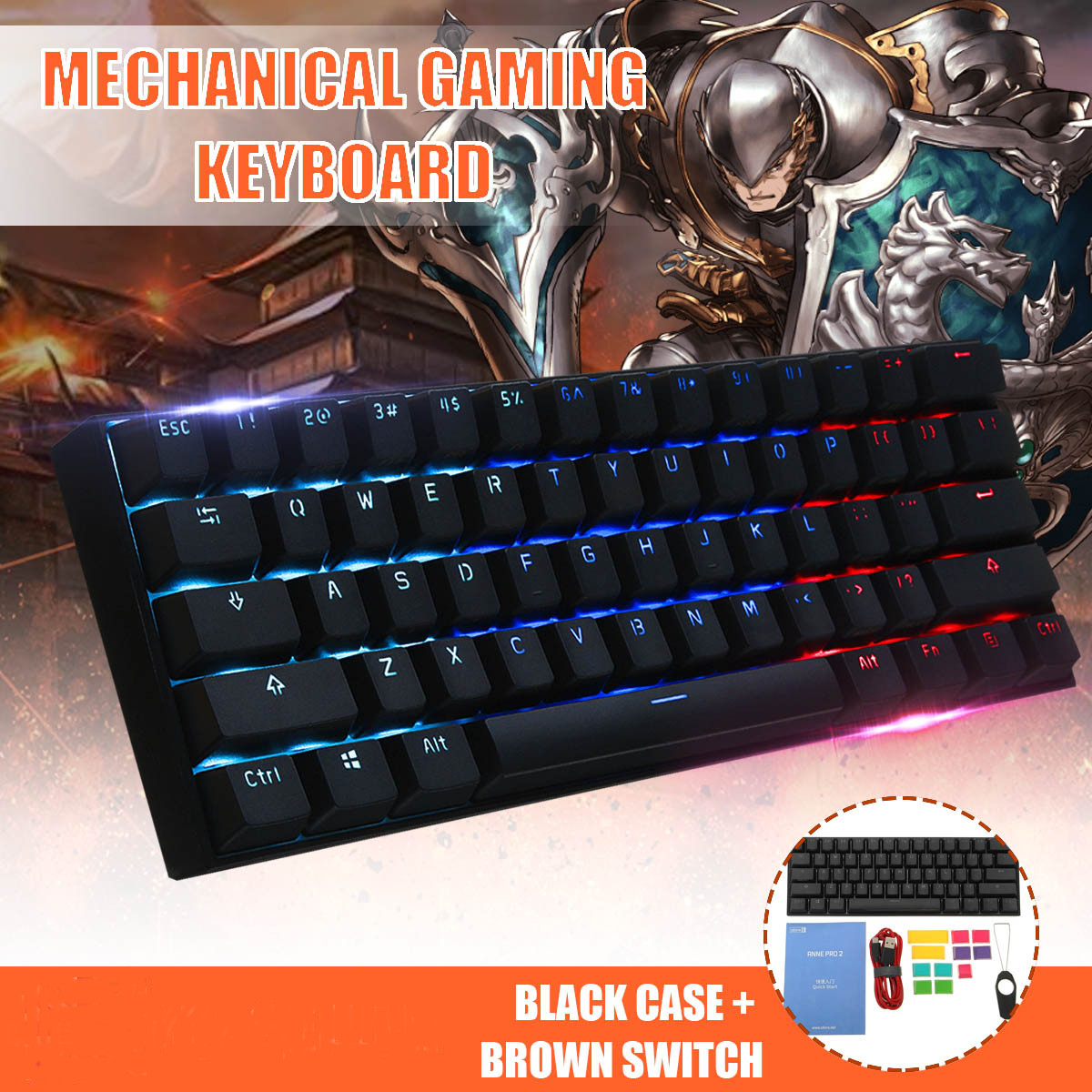 Gateron Switch version Obins Anne NKRO Bluetooth 4.0 Type-C RGB Mechanical Gaming Keyboard Computer Peripherals