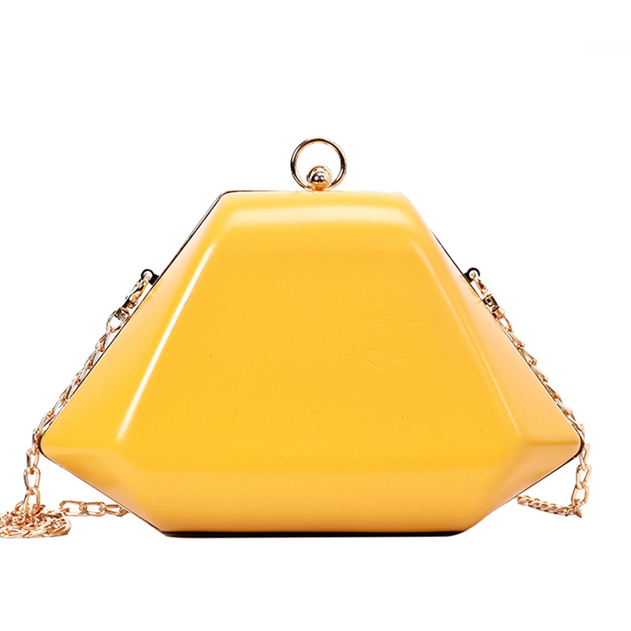 Geometric Box Style Pu Leather Shoulder Bag Women Fashion Vintage Messenger Bag Ladies Party Clutch Chains Purse Female Handbag