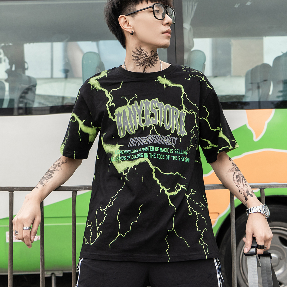 Lightning Printed Tshirts Men Streetwear Tshirts Casual Summer Fashion Hip-hop Loose Tees Top Youth Dance