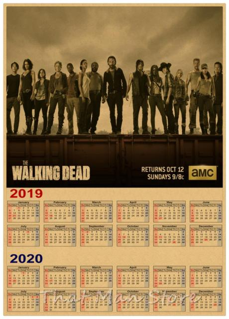 Walking Dead 2019 Calendar The walking dead 2019 2020 calendar poster Vintage Retro movie
