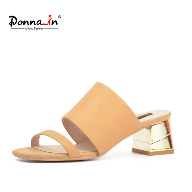 Donna-in 2017 summer new fashion simple genuine leather sandals thick heel shoes for women