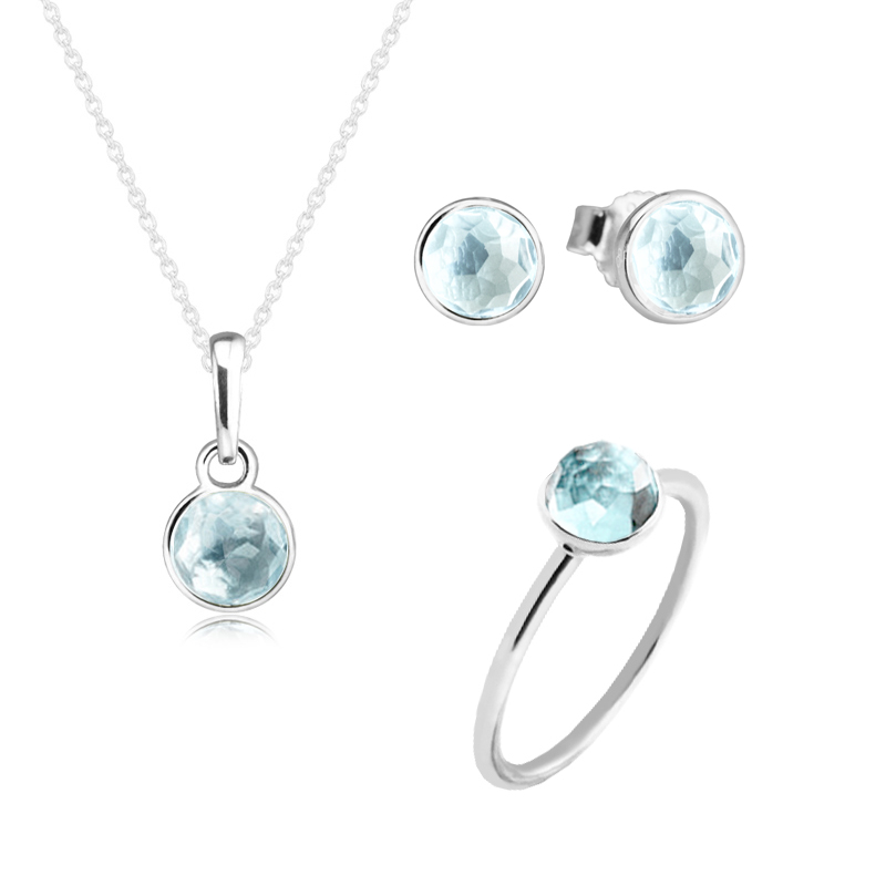 March Droplet Aqua Blue Crystal Ring Necklace Stud Earrings 100% 925 Sterling Silver Jewelry Set for Women Fine Jewelry PFS5063 women s fashionable peafowl style crystal inlaid necklace earrings jewel set blue silver