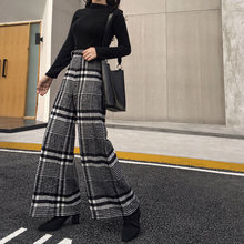 Wool Black White Plaid Loose Women Wide Leg Pants High Waist Autumn Spring Plus Long Trousers For Female Casual Fashion(China)