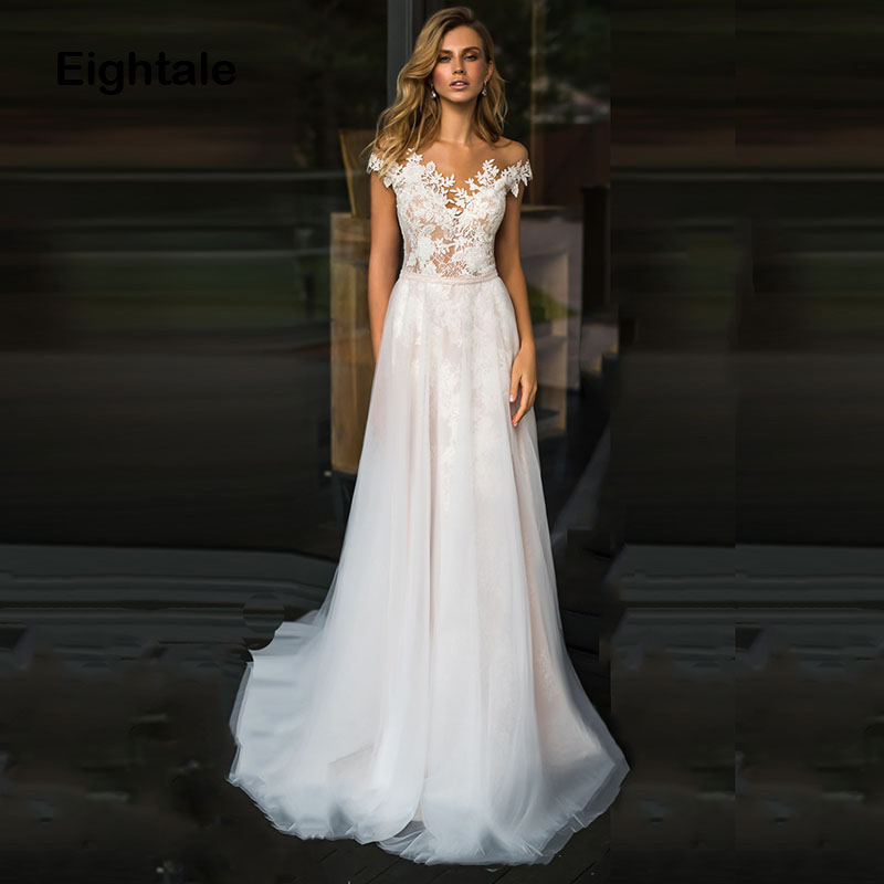 Eightale Boho Wedding Dress 2019 Scoop Princess Tulle Lace