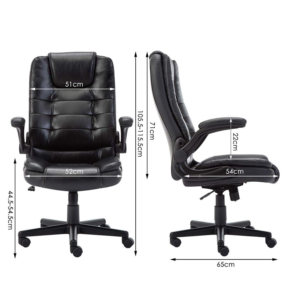 IntimaTe WM Heart Leather Office Executive Chair With Foldable Arms Ergonomic Swivel Computer Desk Chair A35