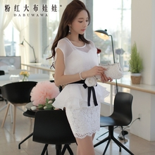 dabuwawa ladies dress 2016 summer new flowers belt elegant women lace chiffon office dresses white short pink doll