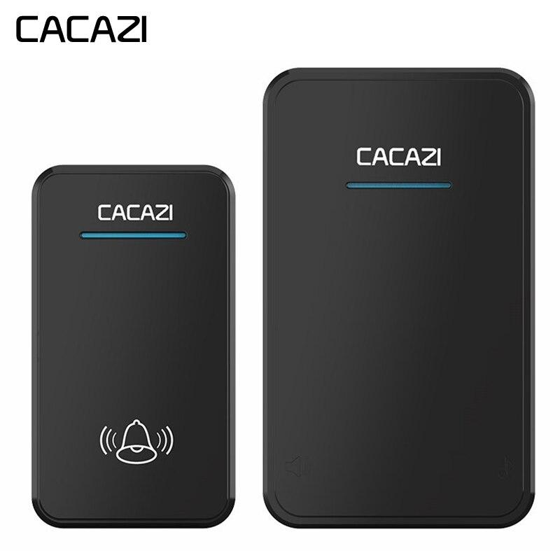 CACAZI timbre inalámbrico DC batería operado impermeable 1 botón 1 receptor led luz hogar Luz inalámbrico timbre de la puerta 48 CHime 6 Volumen
