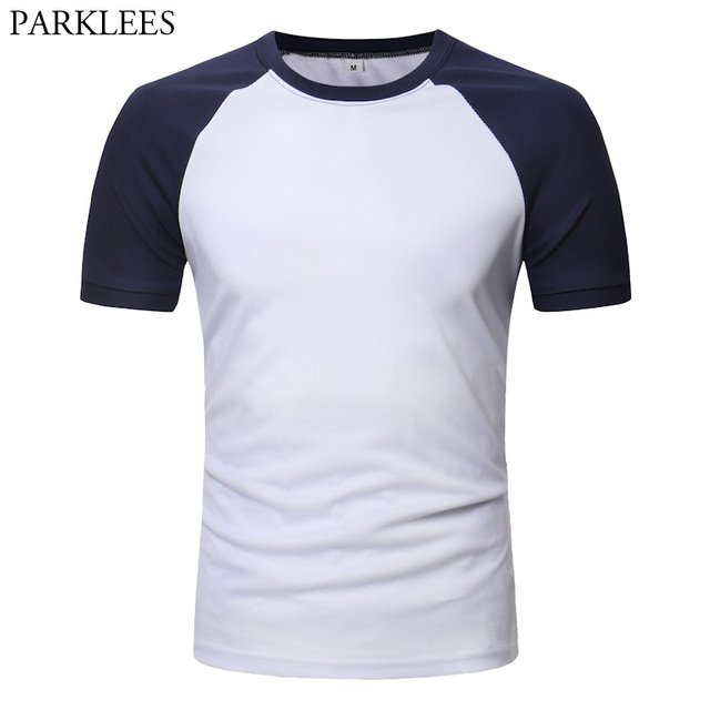 19839016 Fashion Raglan Sleeve Baseball T Shirt Men 2018 Summer Short Sleeve Tee  Shirt Homme Casual Slim Fit Solid Color Mens T Shirts