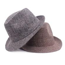 HT1605 Новая мода белье фетровых Винтаж ретро сплошной Для МУЖЧИН широкими полями летние пляжные солнца Шапки Панама равнине Gangster джаз шляпа