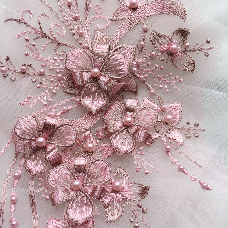 1 Piece 30*15cm Elegant 3D Flower Embroiderey Pearl Beaded Lace Applique Lace Trim Dress Fabrics Material Gold/Champagne/Pink купить в Москве 2019