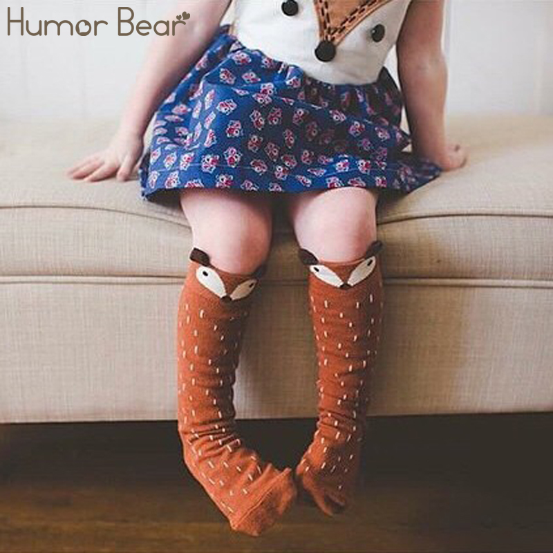 Humor Bear Cotton Baby Leg Warmers 1 Pair Unisex Baby Girl&Boy Knee High Fox Socks Kids Cute Cartoon Socks