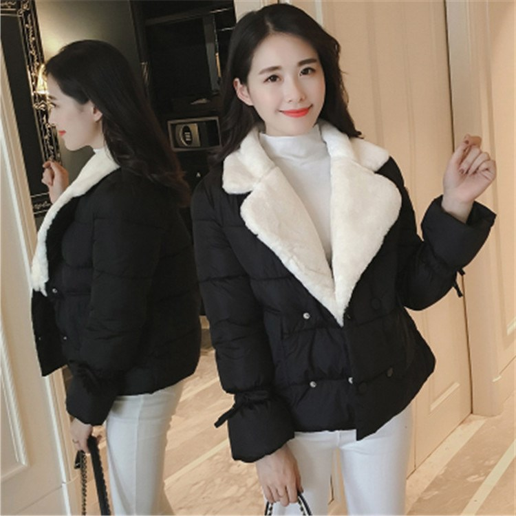 Winter New Fashion Women Slim Fur Turndown Collar Jacket High Quality Cotton Double Breasted Parkas Female Casual Coat